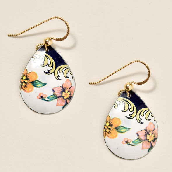 Vintage Tin Pale Floral Earrings