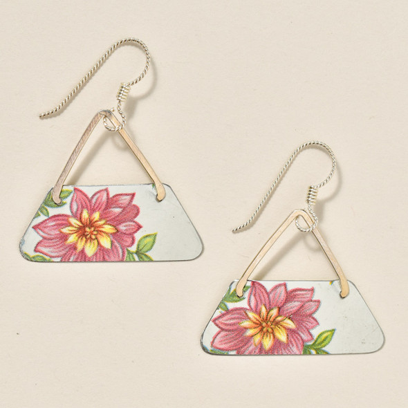 Vintage Tin Pink Flower Earrings