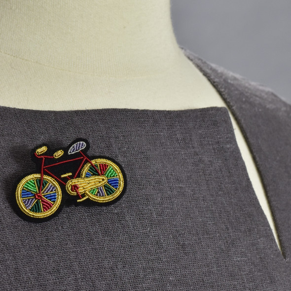 Paradise Bike Metal Thread Pin on clothing