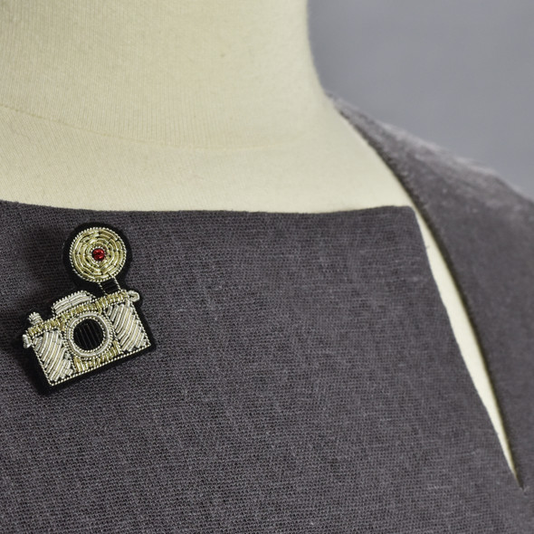 Silver Camera Metal Thread Pin on clothing