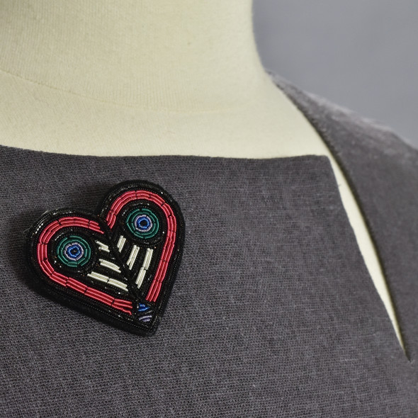 Heart Shaped Metal Thread Pin on clothing