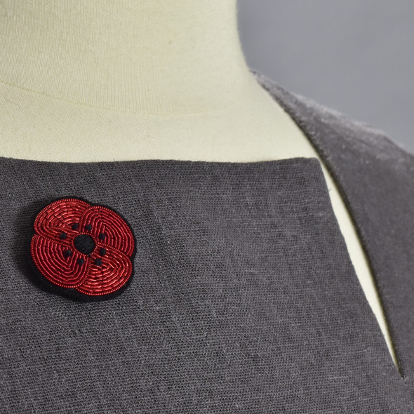 Red Poppy Metal Thread Pin on clothing