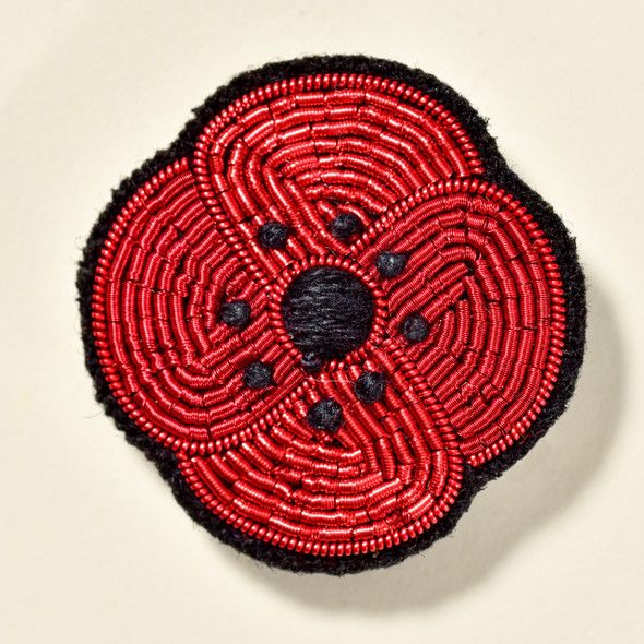 Red Poppy Metal Thread Pin