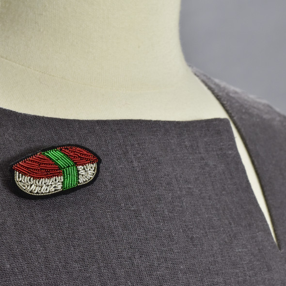 Sushi Metal Thread Pin on clothing