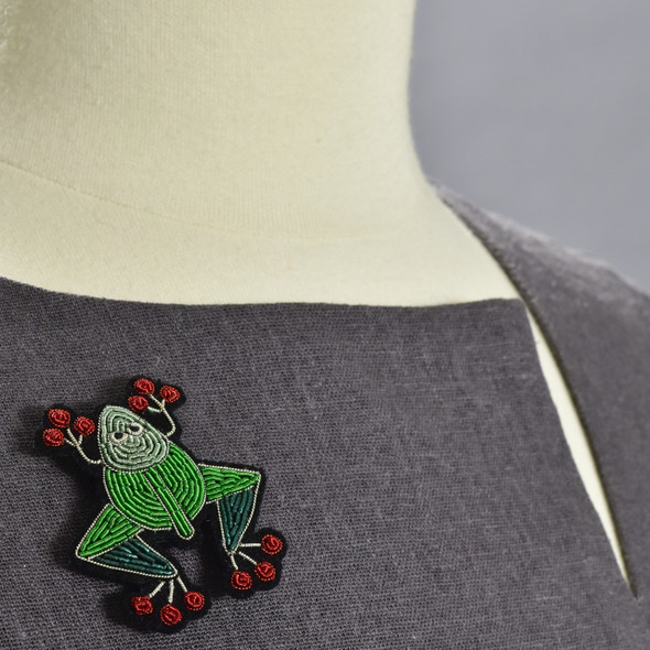 Toad Metal Thread Pin on clothing