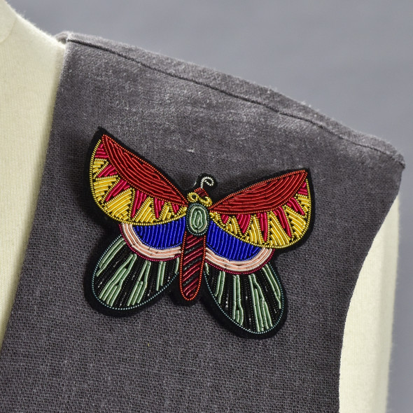 Large Butterfly Metal Thread Pin on clothing