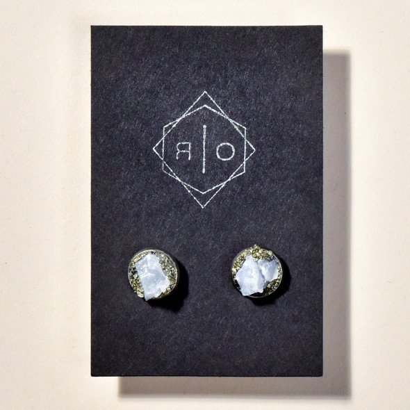 Raw Blue Calcite and Pyrite Clusters Stud Earrings on card