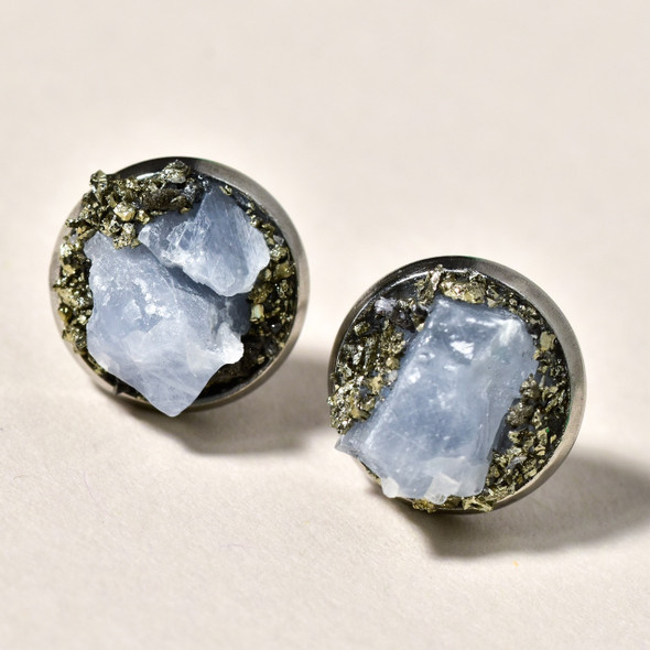 Raw Blue Calcite and Pyrite Clusters Stud Earrings