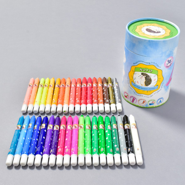 CRAYONS NOYO SET 36 package and crayons