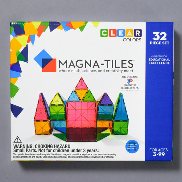 MAGNA-TILES CLEAR COLOR STARTER SET 32 PIECE box front