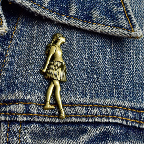 Degas Little Dancer, Aged Fourteen Pin, on denim jacket