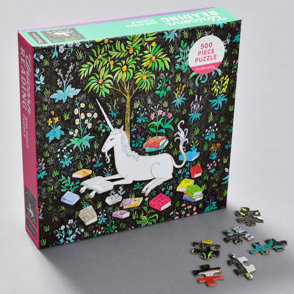 Unicorn Reading Puzzle front of box with pieces