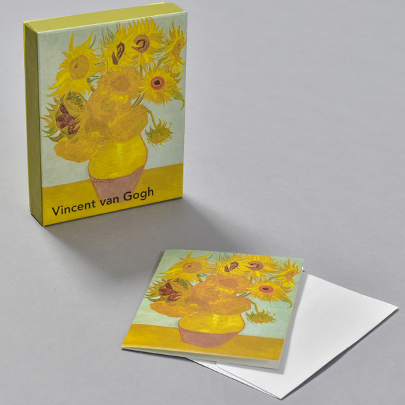van Gogh Sunflowers Notecard Set, box and notecard with envelope