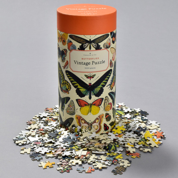 Butterflies Vintage Puzzle, container with pieces