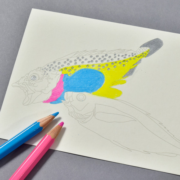 Japanese Designs Postcard Coloring Book in use