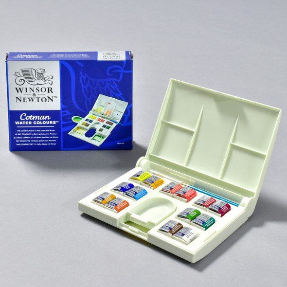 Cotman Compact Watercolor Set, open with box