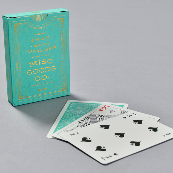 Misc. Goods Co. Quality Playing Cards box with some cards