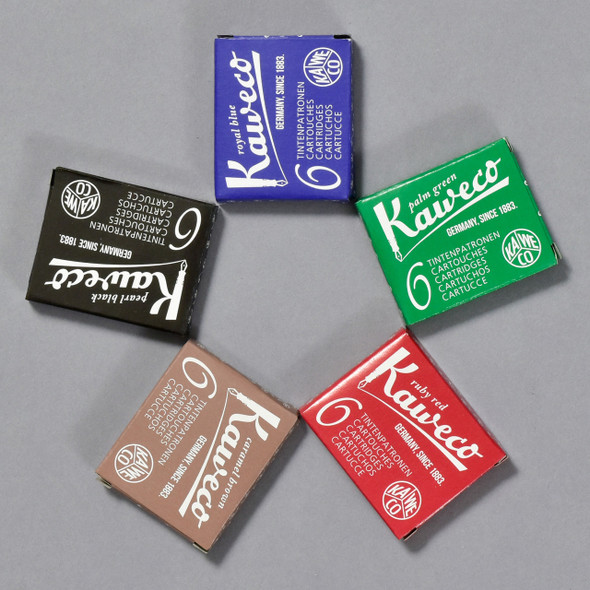 Kaweco Ink Cartridge Packs in Black, Red, Green, Brown and Blue