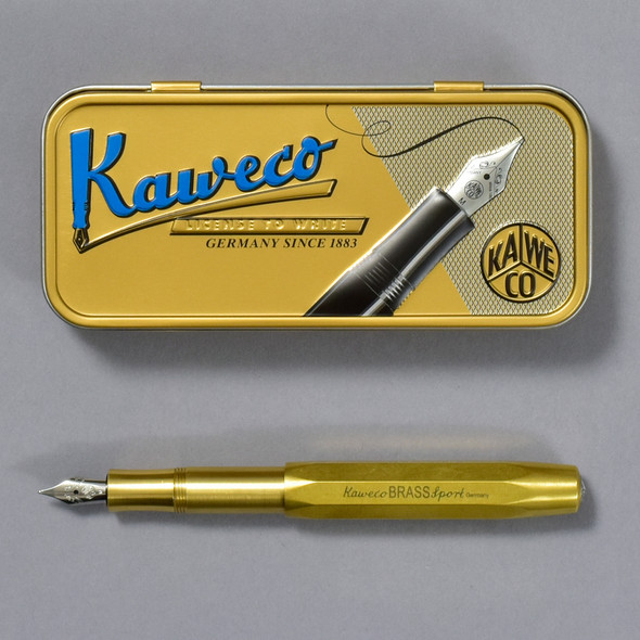 Kaweco Fountain Pen Brass Sport Medium Nib, tin and pen