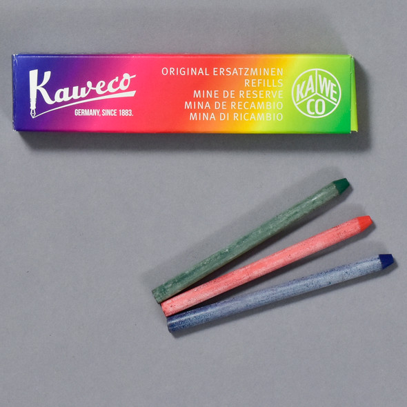 Kaweco Color Lead All Purpose Set of 3 Red, Blue and Green, box and leads