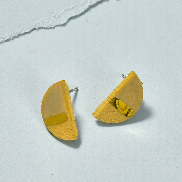Small Semicircle Earrings with Gold Luster by Curious Clay