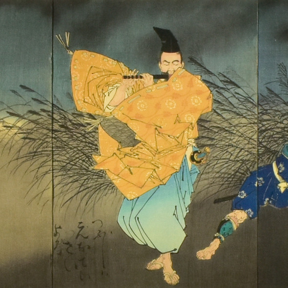 Yoshitoshi: The Heian Poet Yasumasa Playing the Flute by Moonlight, Subduing the Bandit Yasusuke with His Music, 1883 - detail