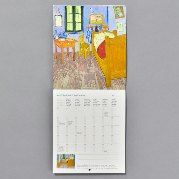van Gogh 2021 Wall Calendar inside monthly view