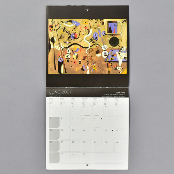 Miro 2021 Wall Calendar, interior, monthly grid and imagery