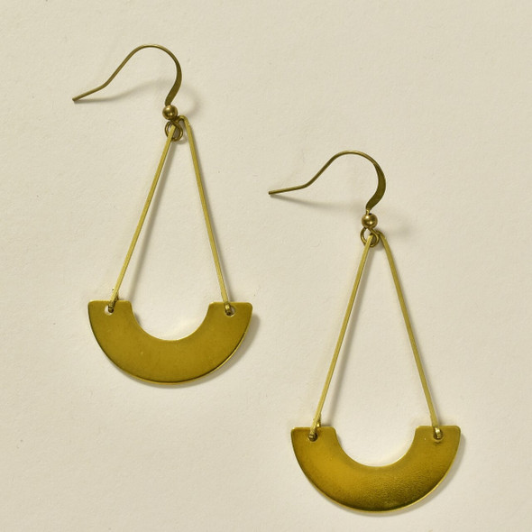 Suspended Arch Brass Earrings by GeoMetric Gem