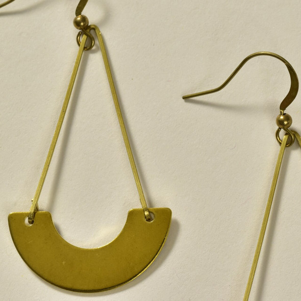 Suspended Arch Brass Earrings by GeoMetric Gem close up