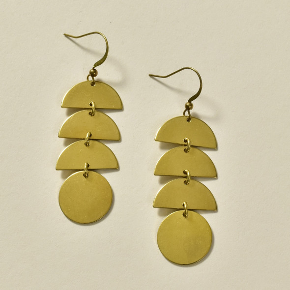 Stacked Semi-Circles Brass Earrings by GeoMetric Gem