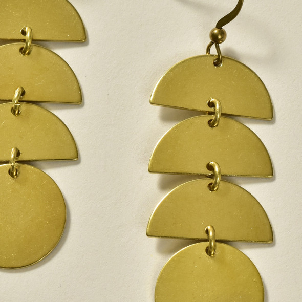 Stacked Semi-Circles Brass Earrings by GeoMetric Gem close up