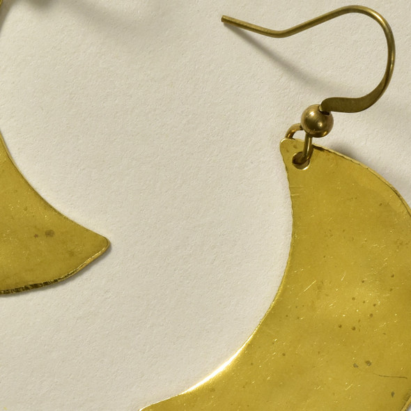 Hammered Crescent Brass Earrings by GeoMetric Gem - close up