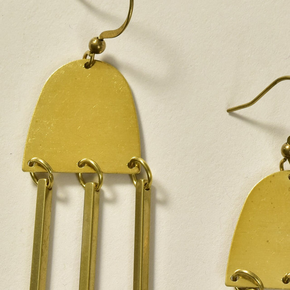 Moon-Ray Brass Earrings by GeoMetric Gem close up