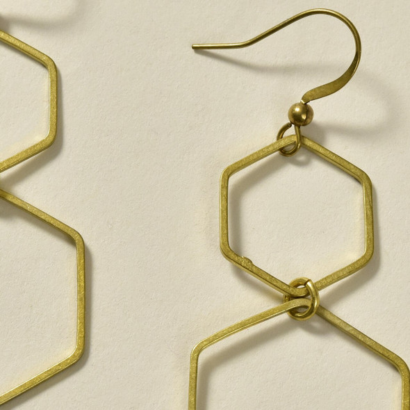 Double Hexagon Brass Earrings by GeoMetric Gem close up