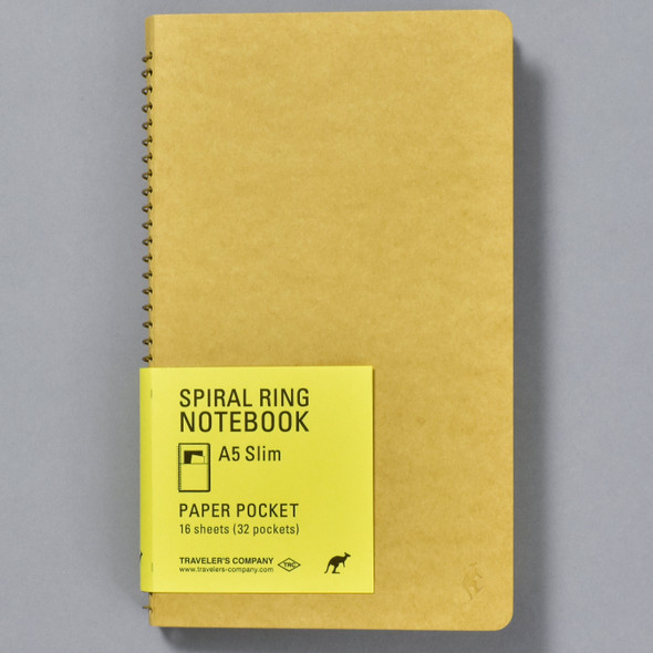 Traveler's Company Spiral Ring Notebook A5 Slim, front with label