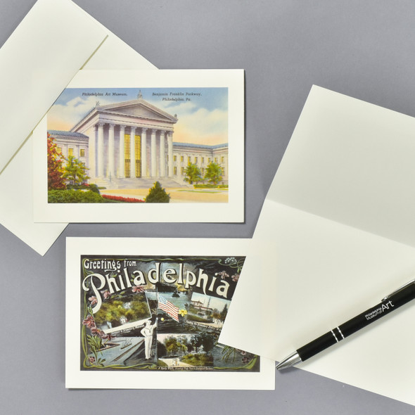 Vintage Philadelphia Postcard Notecard Set, cards and envelope with pen