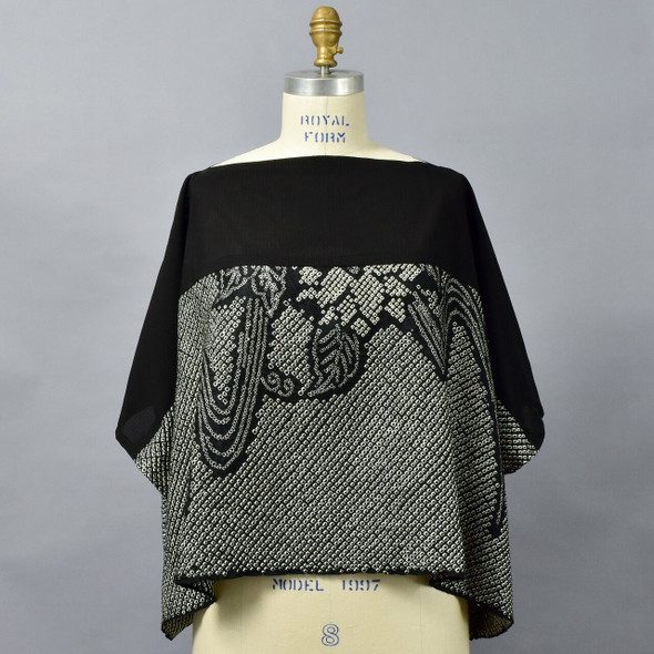 One Of A Kind Black & White Silk Shibori Blouse