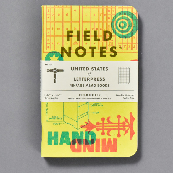 United States of Letterpress Notebooks (Set of 3), front