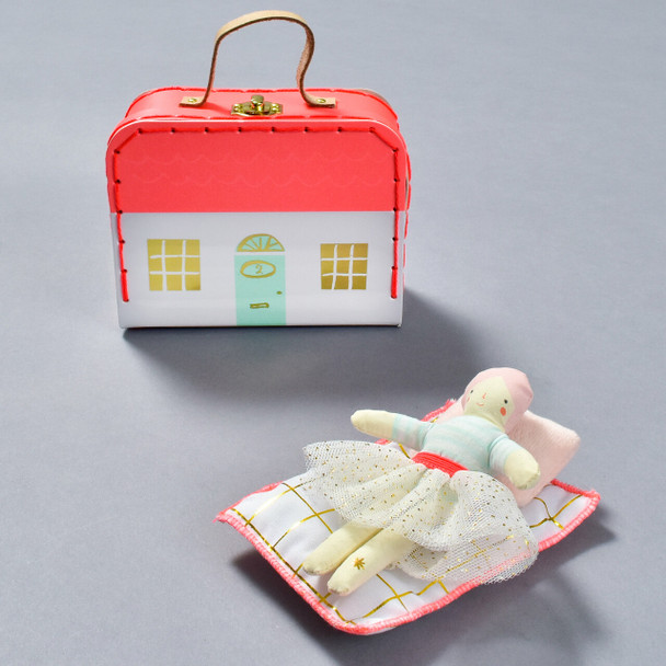 Matilda Doll Mini With House Suitcase, with doll in bed
