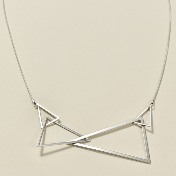 Cascading Silver Triangles Necklace, close up