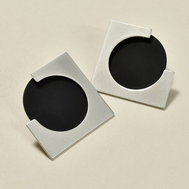 Two-Piece Earrings Silver with Matt Black Circle