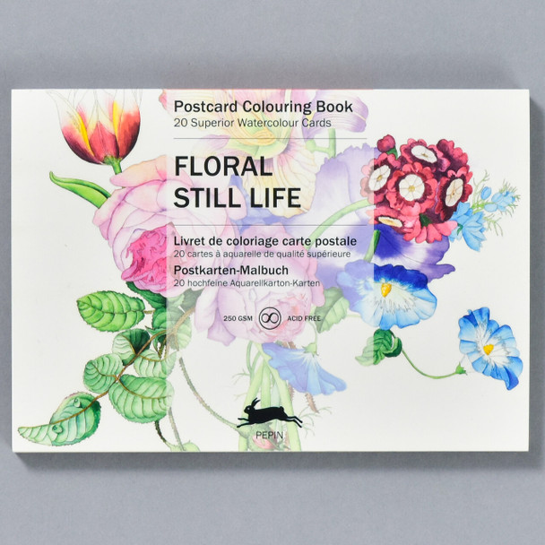 Floral Still Life Postcard Coloring Book, front of book