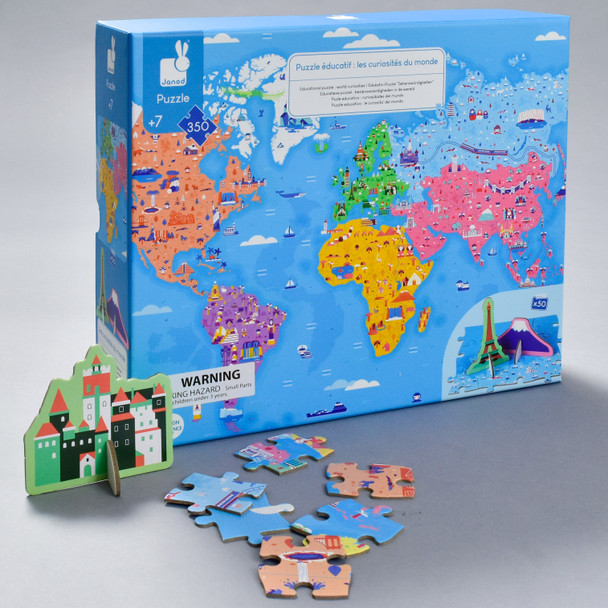 World Curiosities 3D Puzzle, front of box with pieces