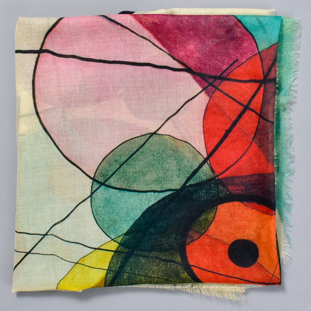Kandinsky Circles In A Circle Scarf, folded