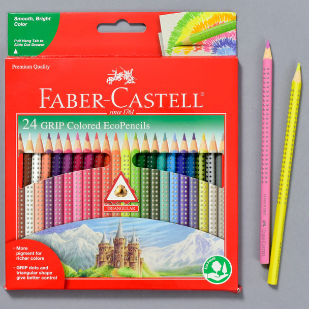 ECOPENCILS WITH GRIP 24 CT  ASSORTED COLORS