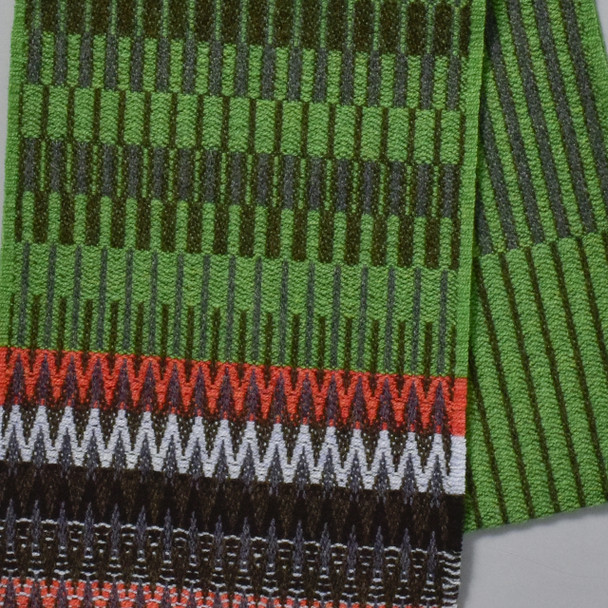 Green Chevron Edge Lambswool Scarf, close up