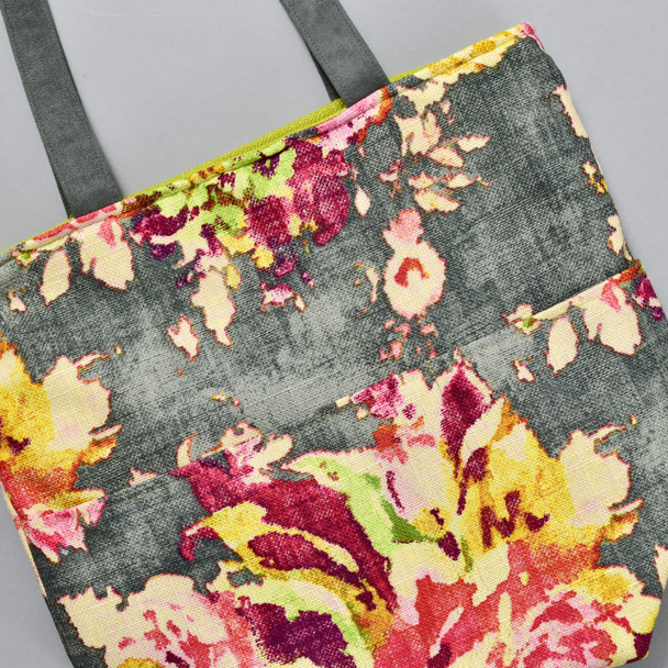 Blossoms Distressed Grey Floral Bucket Bag, close up