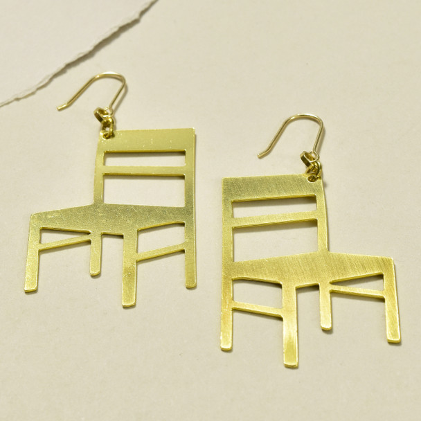 Cathedral Chairs Brass Earrings; laying flat