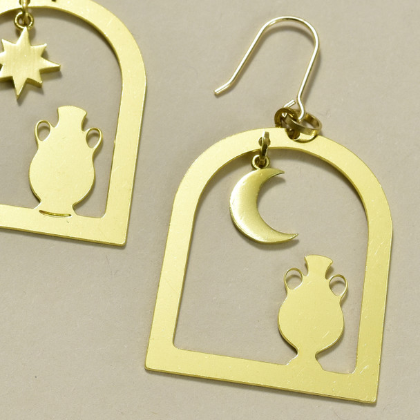 Arched Windows & Vases Brass Earrings; detail of earrings laying flat